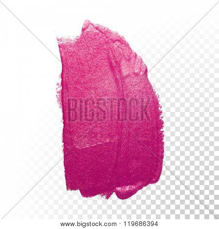 Vector pink watercolor brush stroke. Varnish splash line trace. Abstract shape oil paint smear on transparent background.