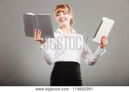 Woman Learning With Ebook And Book. Education.