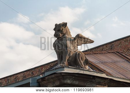 Sculpture Of A Winged Lion On The Roof Of The Building. Kiev, Ukraine