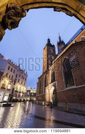 St. Mary's Basilica in Krakow. Krakow Poland.
