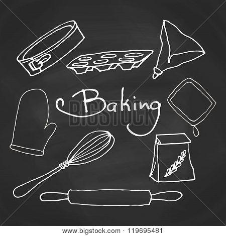 Hand drawn baking equipment. Kitchen tools design