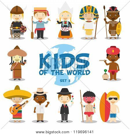 Kids of the world vector illustration: Nationalities Set 3. Set of 12 characters dressed in different national costumes (Sweden, Italy, Holland, Egypt, Southafrica/Zulu, Mongolia, India, Mexico, Cuba, Argentina, Venezuela/Yanomami and Australia).