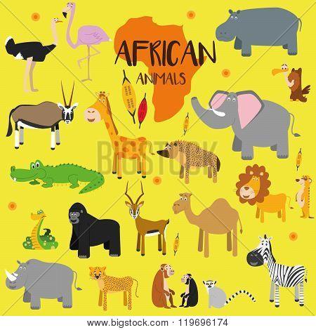 Vector set African animals. Ostrich, flamingo, oryx gazelle, impala, giraffe, crocodile, snake, gorilla, rhino, cheetah, monkey, chimpanzee, lemur, zebra, camel, dromedary, hyena, elephant, lion, meerkat, vulture and hippopotamus. Flat style character. Ve