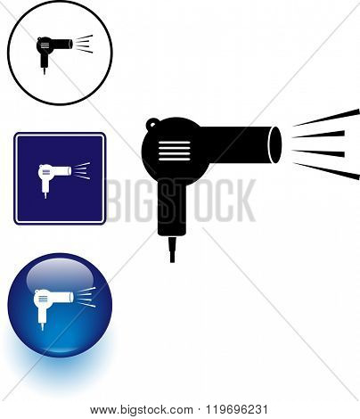 hair dryer symbol sign and button