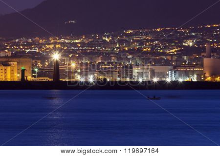 Naples lighthosues at night. Naples Campania Italy