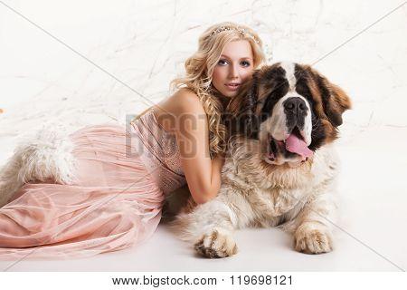 Young Woman And Big Dog