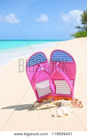 Pinks Flip-flops On A Sunny Sandy Beach..tropical Beach Vacation And Travel Concept, Vertical Compos
