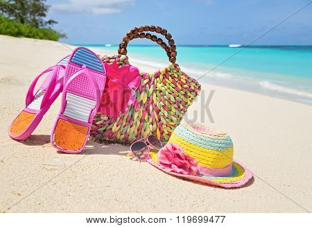 Bag, Hat, Flip-flops And Sunglasses On Sunny Beach, Tropical Beach Vacation And Travel Concept
