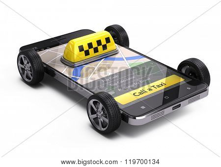 Online call a taxi application service concept - taxi car sign on smartphone with wheels