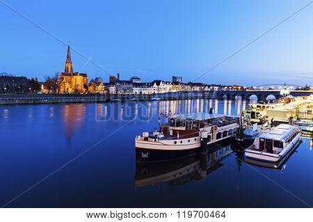 Meuse River in Maastricht. Maastricht Limburg Netherlands.