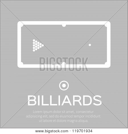 Billiards pool snooker game. Balls triangle on table - Vector illustration.