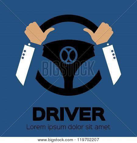 Driver design element with hands holding steering wheel. Vector illustration.