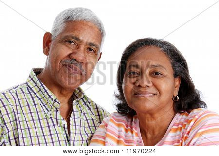 Senior Minority Couple Set On A White Background