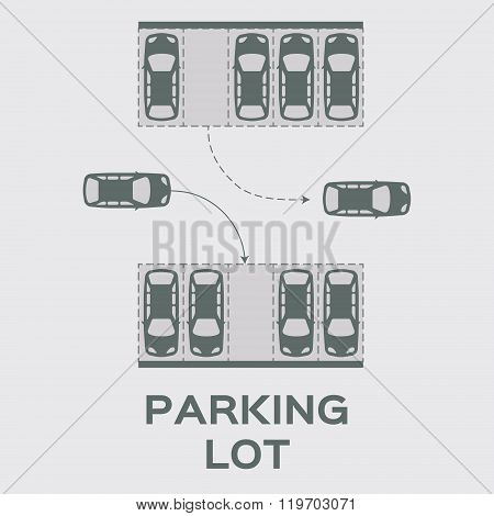 Grey Top View Parking lot design.