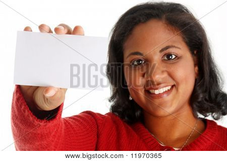 Porträt einer Frau Minderheit auf weißem Hintergrund