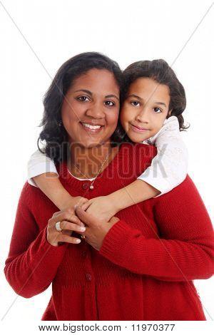 Mujer de minoría y su hija sobre fondo blanco