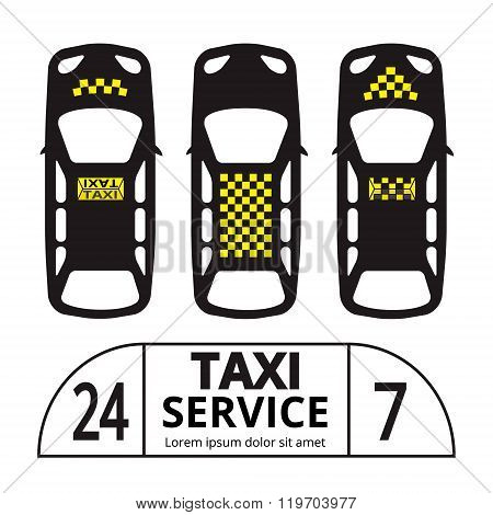 Top view Taxi cab symbol and sign.