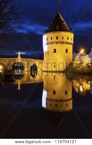 Broel Towers Bridge In Kortrijk