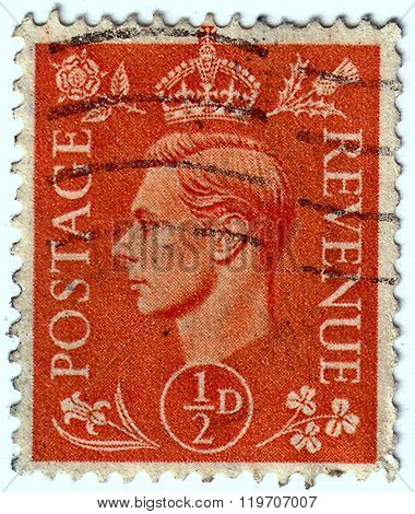 United Kingdom - Circa 1950 To 1952: An English Half Pence Brown Used Postage Stamp Showing Portrait