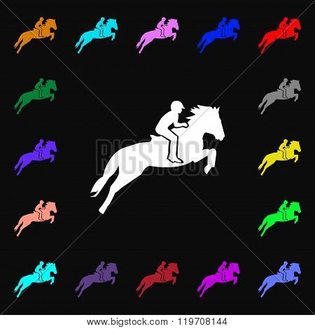 Horse Race. Derby. Equestrian Sport. Silhouette Of Racing Horse Icon Sign. Lots Of Colorful