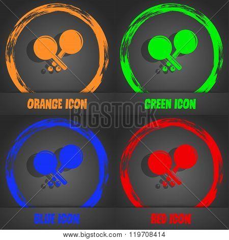 Tennis Rocket Icon. Fashionable Modern Style. In The Orange, Green, Blue,