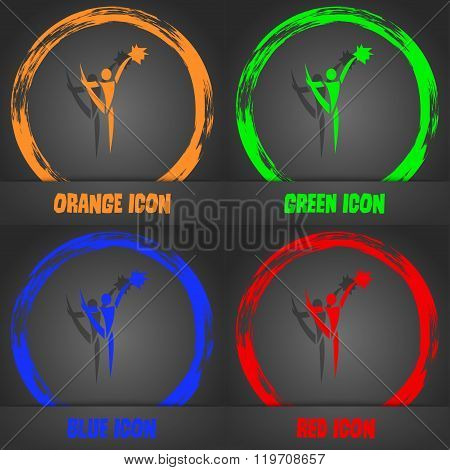 Cheerleader Icon. Fashionable Modern Style. In The Orange, Green, Blue,