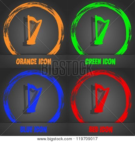 Harp Icon. Fashionable Modern Style. In The Orange, Green, Blue, Red Design.