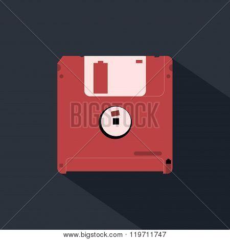 Diskette flat design icon