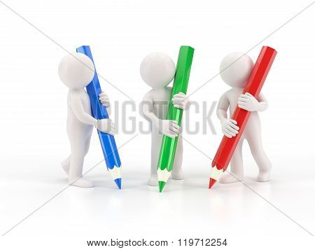 3d small people - three crayons