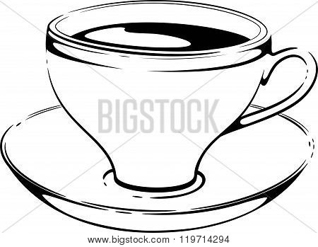 Cup Of Coffee. Sketch. Vector