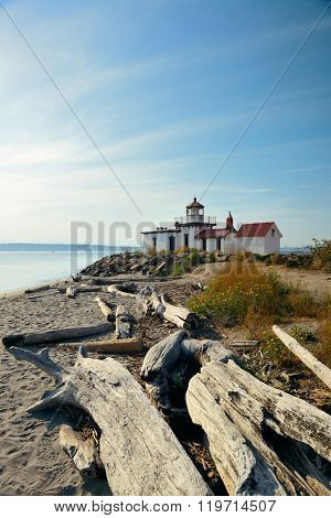 West point lighthouse in Seattle, WA.