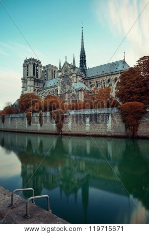 Paris River Seine with Notre-Dame cathedral in France.