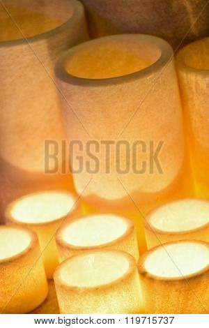 candlelight in cylindrical resin
