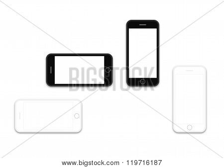 Phone Black And White Os Layout Template