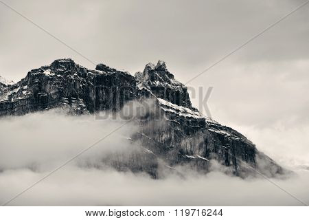 Foggy mountain and cloud in Banff National Park, Canada