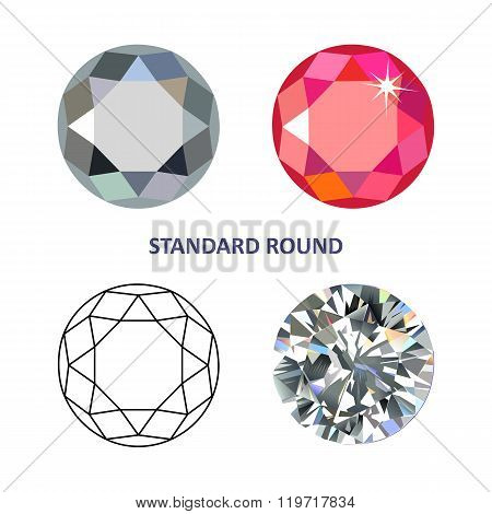 Low Poly Colored & Black Outline Template Standard Round Gem Cut