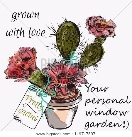 Pretty Vector Card With Hand Drawn Cactus Grown With Love