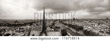 Paris rooftop panorama view from Notre-Dame Cathedral.