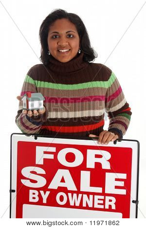 Minority woman selling her home on white background