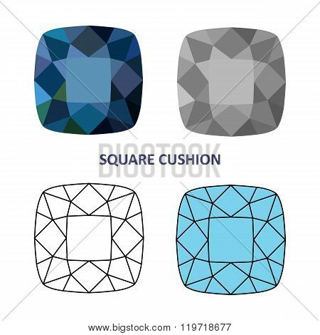 Low Poly Colored & Black Outline Template Square Cushion Gem Cut