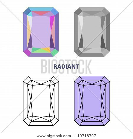 Low Poly Colored & Black Outline Template Radiant Gem Cut