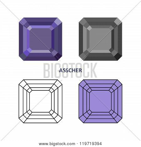 Low Poly Colored & Black Outline Template Asscher Gem Cut