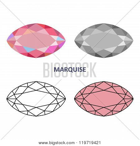 Low Poly Colored & Black Outline Template Rectangular Marquise Gem Cut