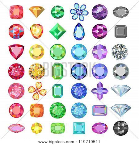 Popular Low Poly Colored Gems Cuts Set Gradation By Color Of The Rainbow
