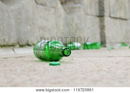 SZCZECIN, POLAND - February 20, 2016: An empty bottle of beer