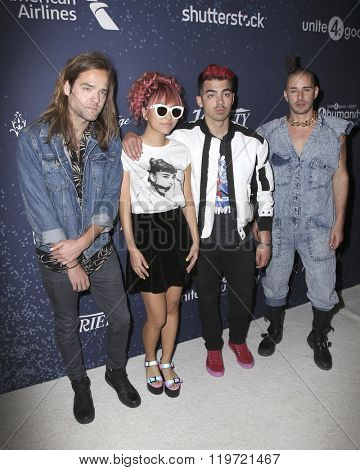 LOS ANGELES - FEB 25:  Jack Lawless, JinJoo Lee, Joe Jonas, Cole Whittle at the 3rd Annual unite4:humanity at the Montage Hotel on February 25, 2016 in Beverly Hills, CA