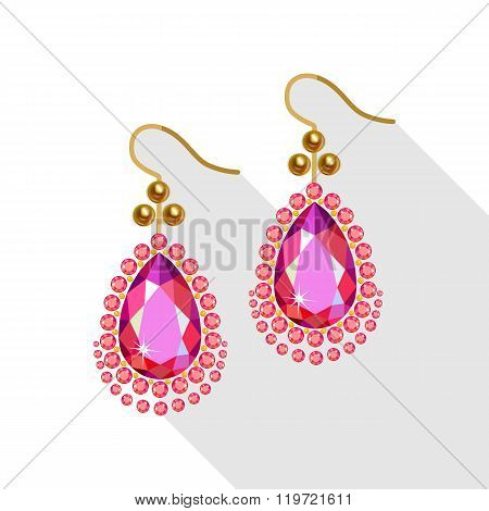 Earrings Set (gold Pearls, Diamonds And Ruby) Isolated On White Background