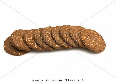 Cocoa biscuits with fiber, gluten-free on a white background