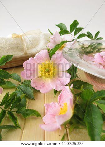 Bath essence with wild rose flowers