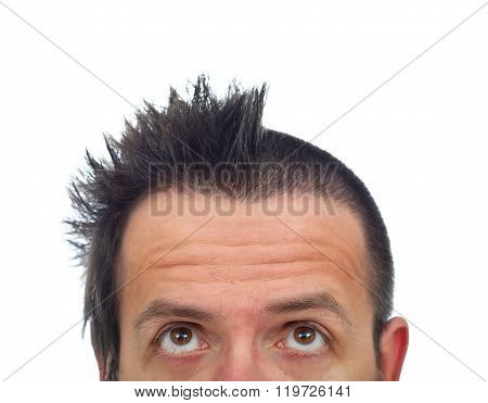 Man With Half Of Hair Cut